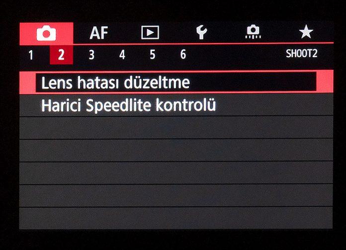 Canon EOS R Çekim Menüsü 2. sekme