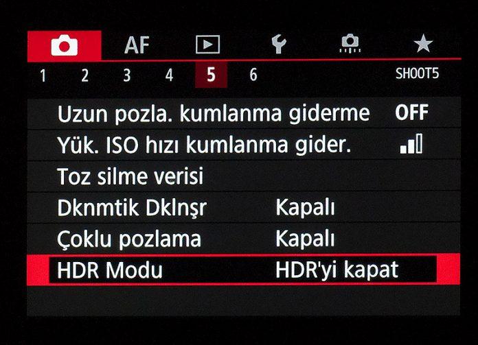 Canon EOS R Çekim Menüsü 5. sekme