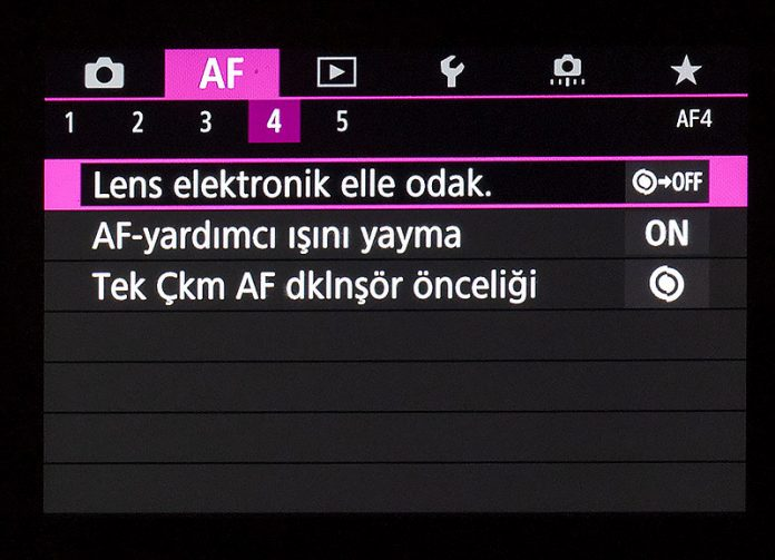 Canon EOS R AF Menüsü 4. sekme