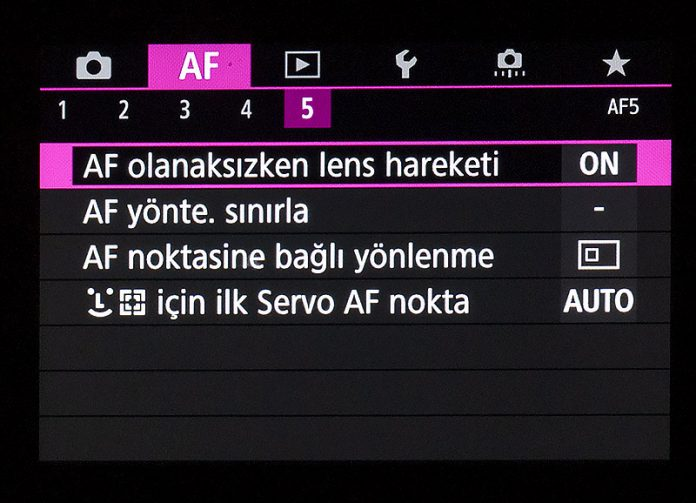 Canon EOS R AF Menüsü 5. sekme