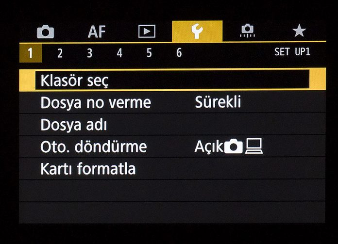 Canon EOS R Ayar Menüsü 1. sekme