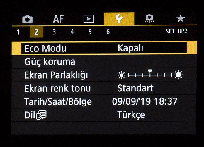 Canon EOS R Ayar Menüsü 2. sekme