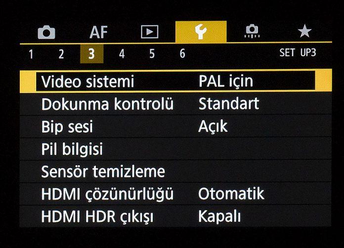 Canon EOS R Ayar Menüsü 3. sekme