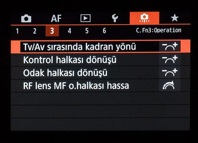 Canon EOS R Özel İşlevler / Menüm 3. sekme