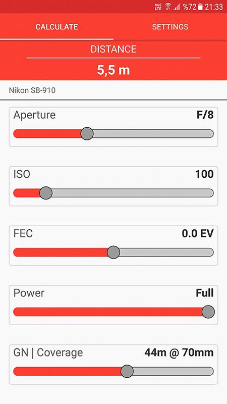 Manual Flash Calculator Ekranı