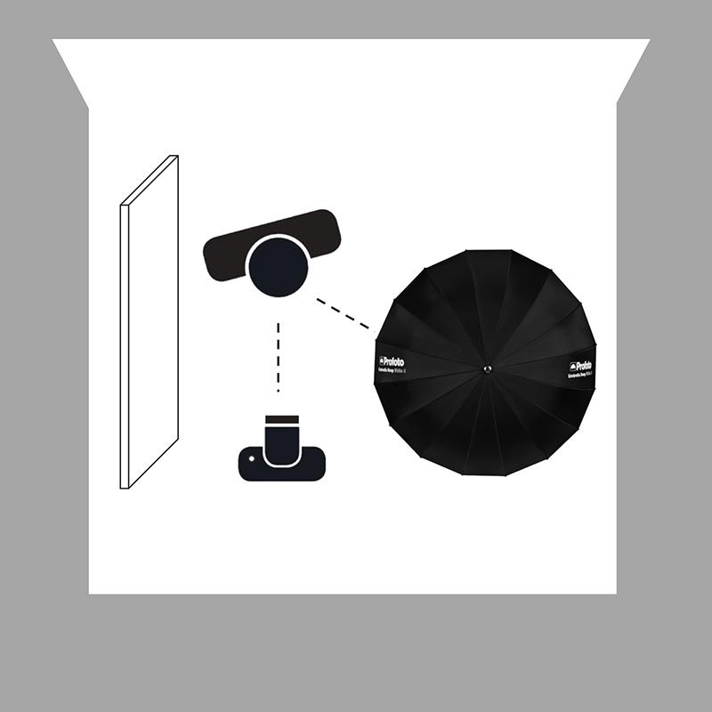 1. Bir şemsiye ve difüzer kullanarak yumuşak ışık