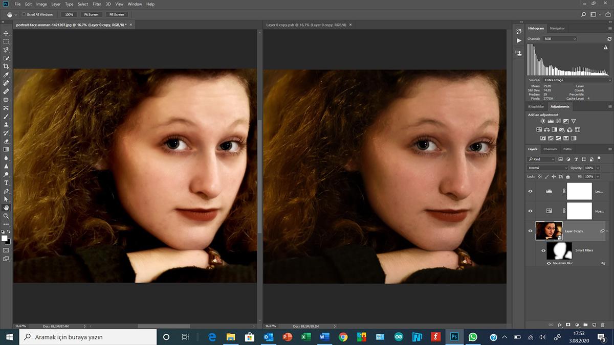 """Photoshop'da """"Gaussian Blur"""" filtresinin iki farklı kullanımı"""