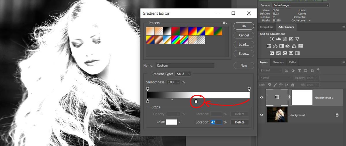 Photoshop'da Gradient Map ile Luminosity Mask