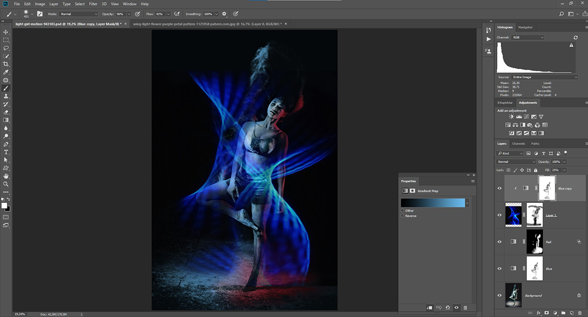 Photoshop'da iki renkli ışık efekti vermek - Dual Lighting Effect