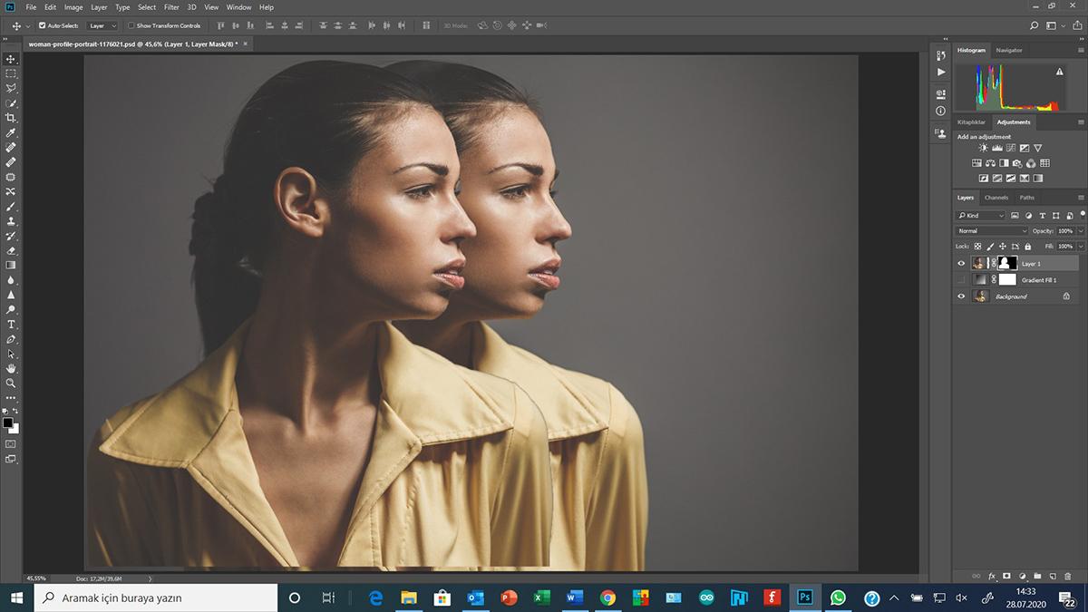 Photoshop'da nesne parçalamak ve araya farklı objeler yerleştirmek