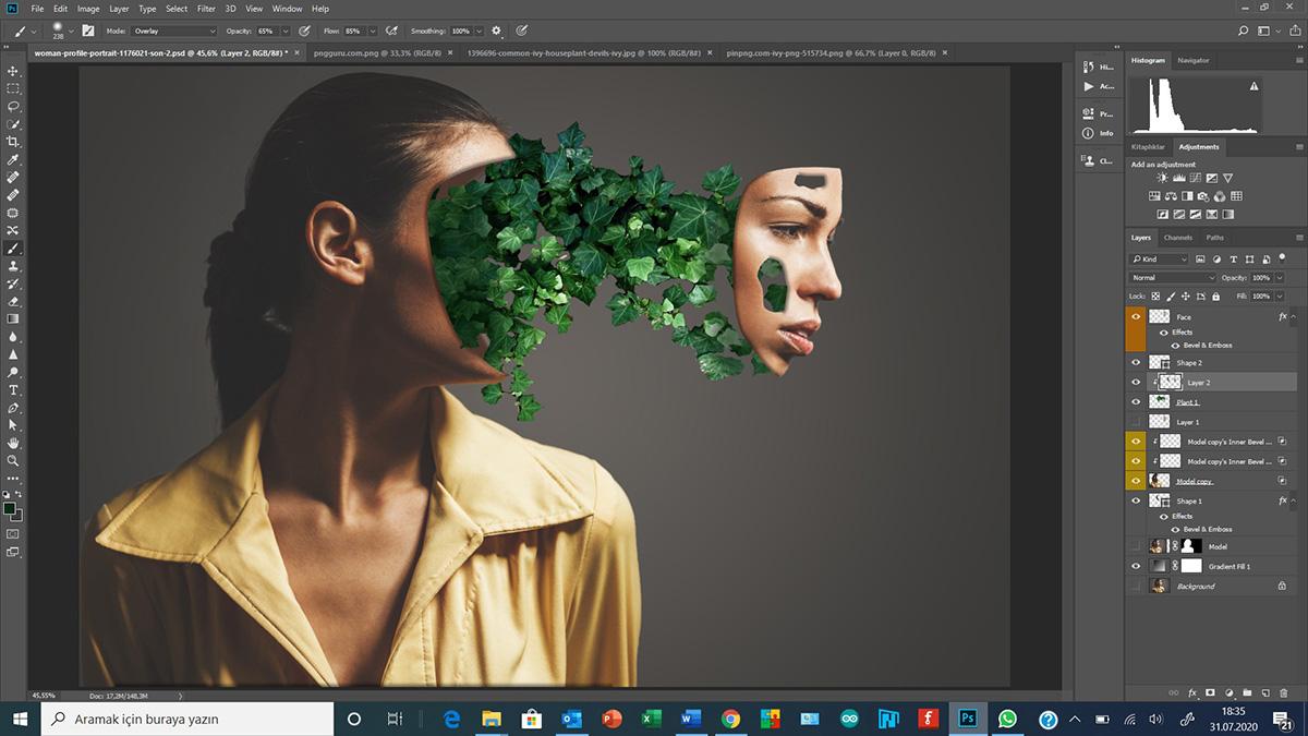Photoshop'da Face-Cut ve Gradient Fill kullanımı - Bölüm 3